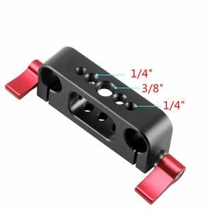 Image 5 - 15mm Rig מוט כפול חורים 1/4 3/8 חוט טלה עדשת מחזיק תמיכת Rail צילום מערכת עבור DLSR מצלמה כלוב חלקי