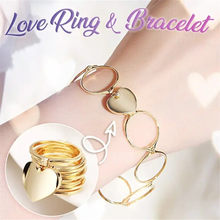 Dual-use Bracelet Ring For Women Fashion Jewelry Retractable Deformation Silver Gold Bracelet Ring Love Heart Rings Bracelets(China)