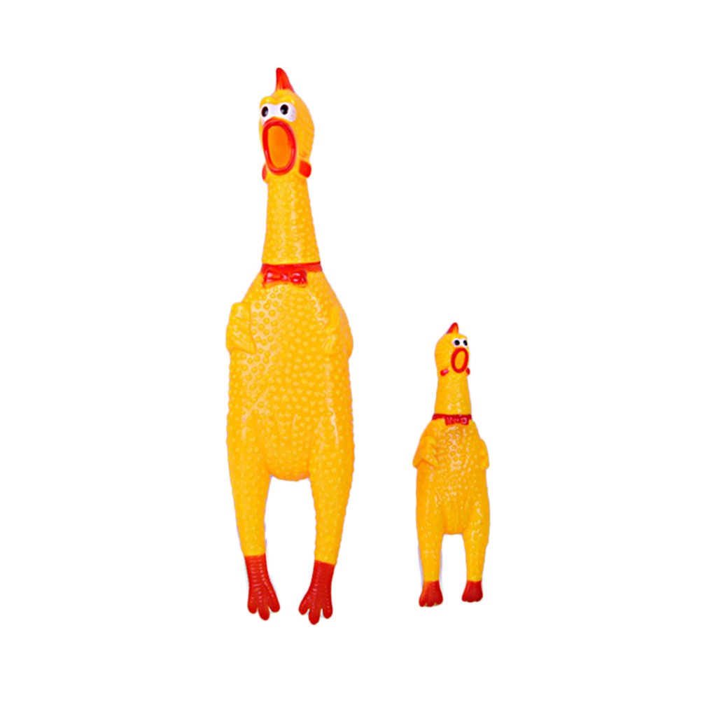 Funny Pet Toy Squawking Rooster Screaming Rubber Chicken Shrilling Yellow Cock Attractive Dog Cat Puppy Sound Toy