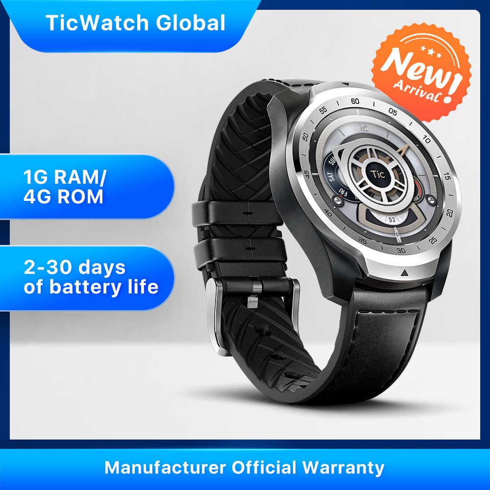 TicWatch פרו 2020 1GB RAM זיכרון Smartwatch תצוגה כפולה IP68 עמיד למים NFC זמין שינה מעקב 24h קצב לב צג