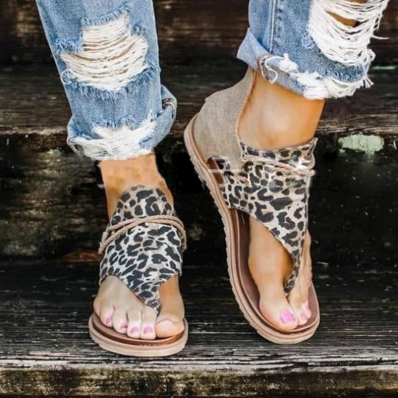 Summer Women Sandals Flock Platform Animal Print Flat Heel Peep Toe Fashion Casual Beach Female Ladies Shoes Zapatos De Mujer