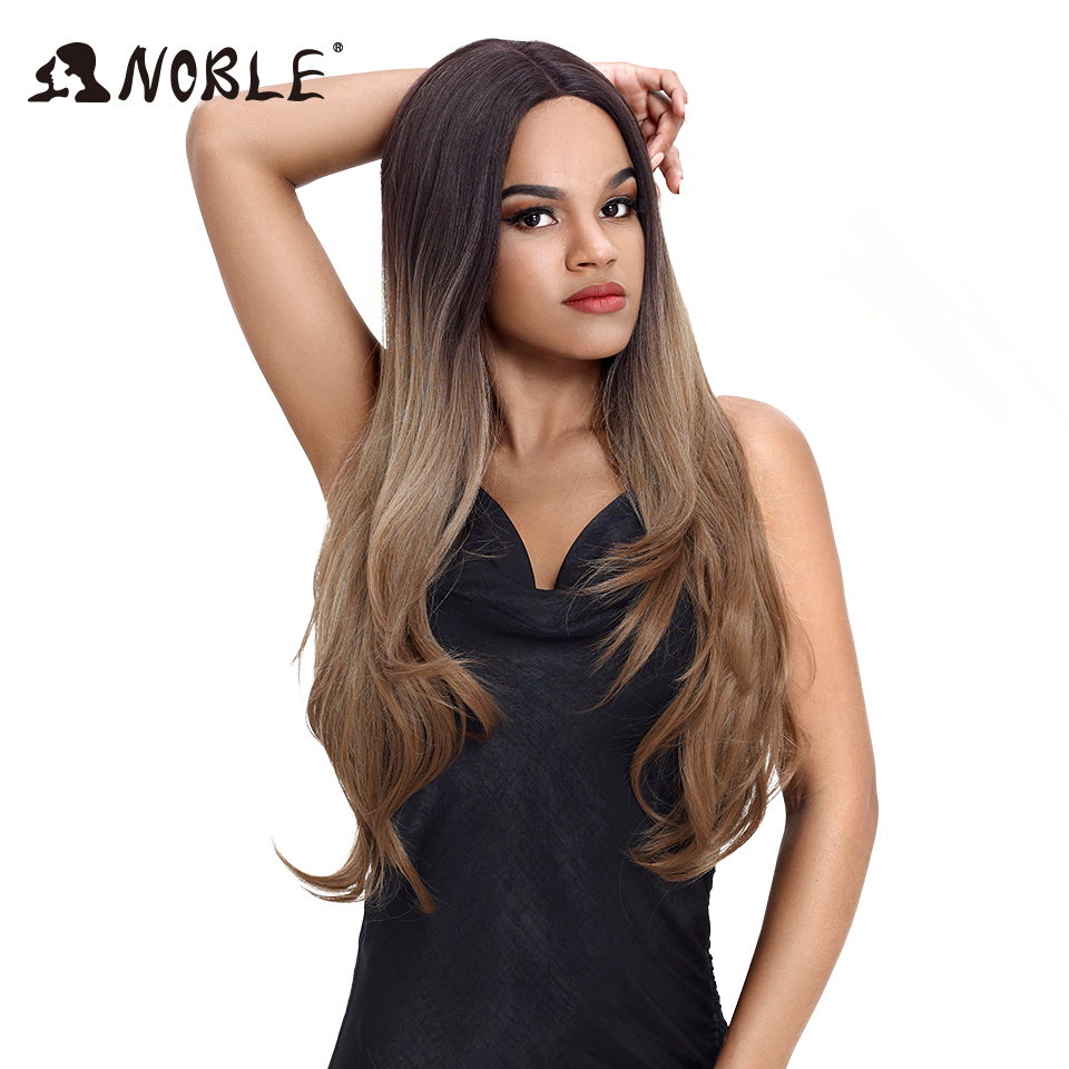NOBLE Hair Synthetic Lace Wigs Heat Resistant Ombre Wig For Black Women 32 Inch Long Straight Hair Party Cosplay Wig For Women