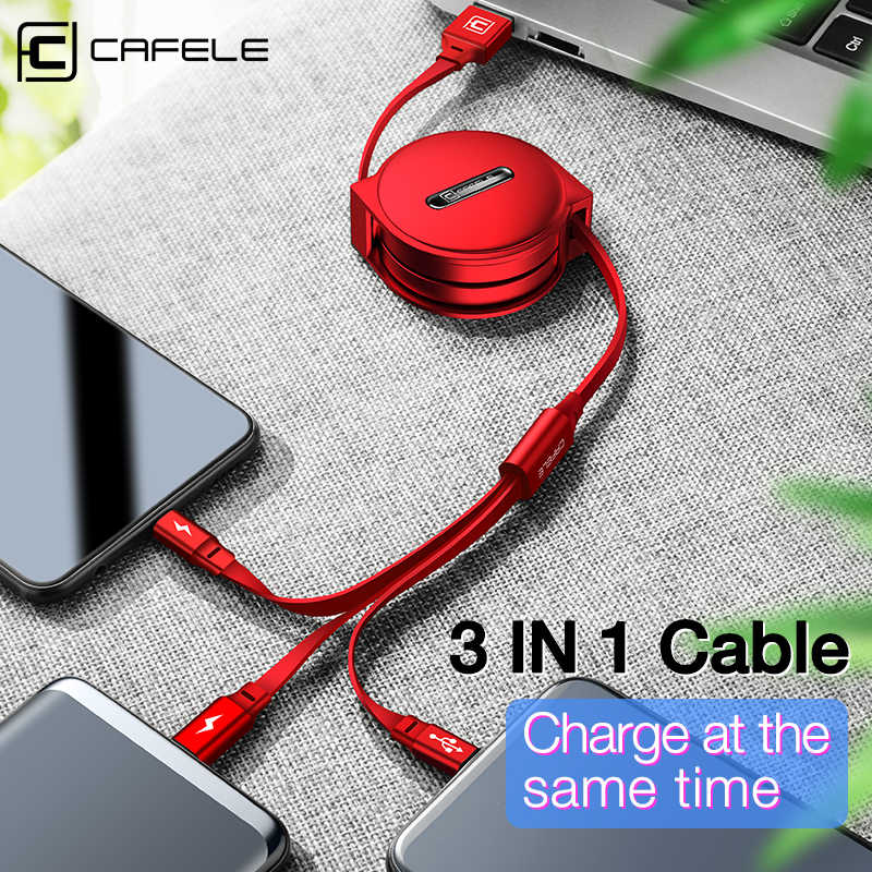 CAFELE 3 in 1 Retractable USB Cable Micro Type C 8 Pin USB cable for iPhone samsung xiaomi Data Sync USB Cable for Huawei 110cm