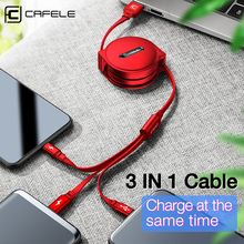 CAFELE 3 in 1 Retractable USB Cable Micro Type C 8 Pin USB cable for iPhone samsung huawei xiaomi Data Sync USB Cable Max 110cm baseus new era cable 8 pin adjustable usb cable retractable telescopic fast charge data sync line for ios 8 9 10 black