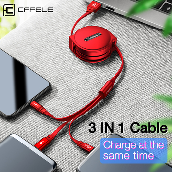 цена на CAFELE 3 in 1 Retractable USB Cable Micro Type C 8 Pin USB cable for iPhone samsung xiaomi Data Sync USB Cable for Huawei 110cm