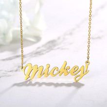 Minimalist Customized Signature Name Necklace for Women Glassy Stainless Steel Chokers Stylish BFF Jewelry Gift(China)