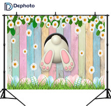 Dephoto Easter egg Rabbit Wood Floor Spring Backdrop for Photography Studio Flower Bunny Photo Background Video Shoot props(China)