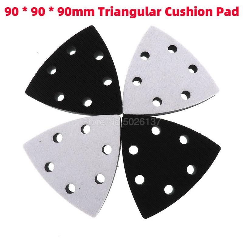 1Pcs 90X90X90MM Triangular Six-hole Cushion Pad Flocking Sponge Disc Sandpaper Self-adhesive Grit Polishing Grinding Triangle
