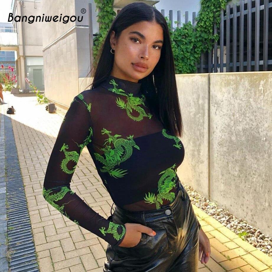 Bangniweigou Dragon Print Sheer Mesh Bodysuit Overalls Women Mock Neck Long Sleeve Sexy Transparent Sporty Slim Rompers