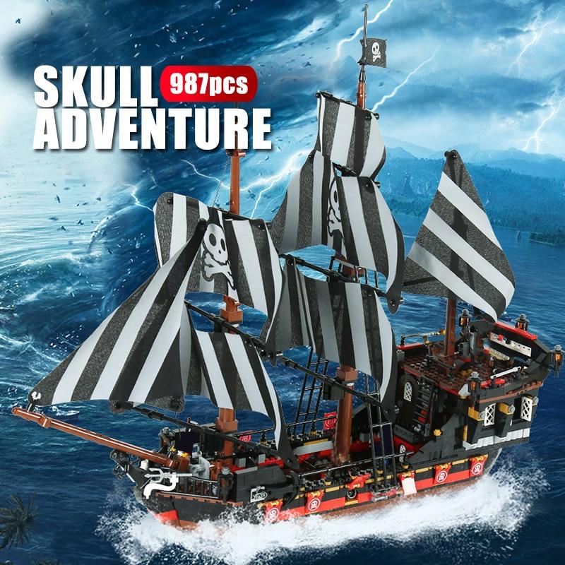 987PCS Black Pearl Ship Boat Pirates of the Caribbean Building Block Figure Gift