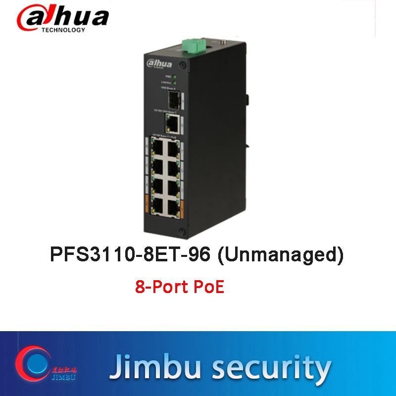Dahua Original PoE Switch PFS3110-8ET-96 8-Port PoE Switch Free Shipping Dual Power Backup 8K MAC Address