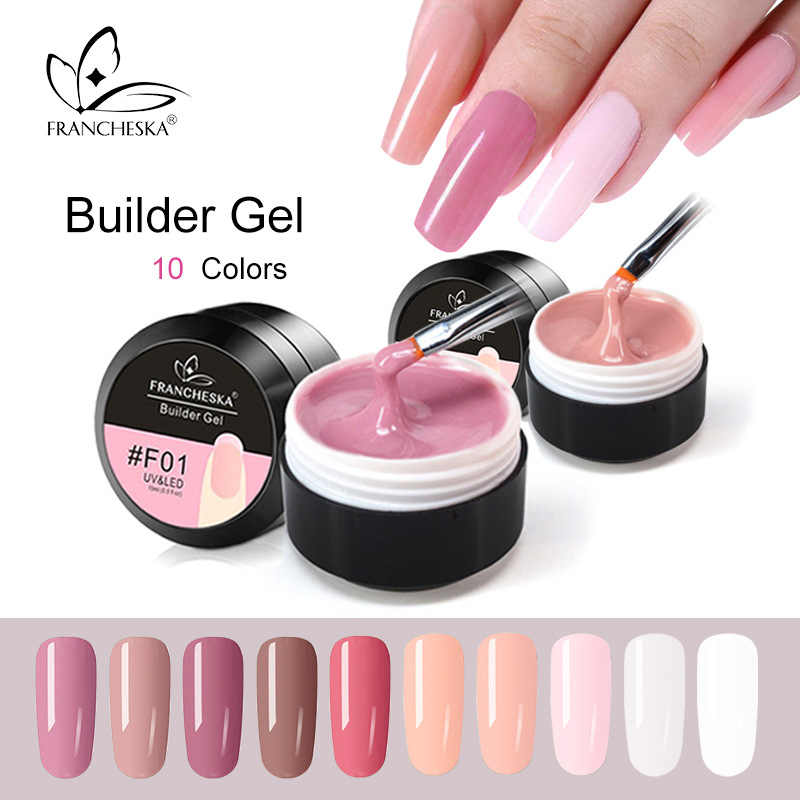 Francheska Kleurrijke Uv Nail Extension Builder Gel Polish Shine Glitter Quick Geverfd Lijm Manicure Crystal Nagels Decoratie TSLM1