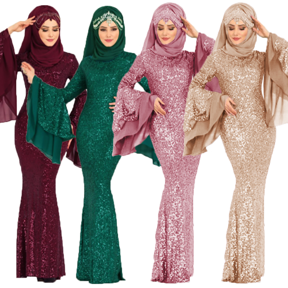 Women Sequin Abaya Turkey Arabic Evening Hijab Muslim Dress Caftan Kaftan Moroc Robe Musulmane Islamic Clothing Vestidos Dresses