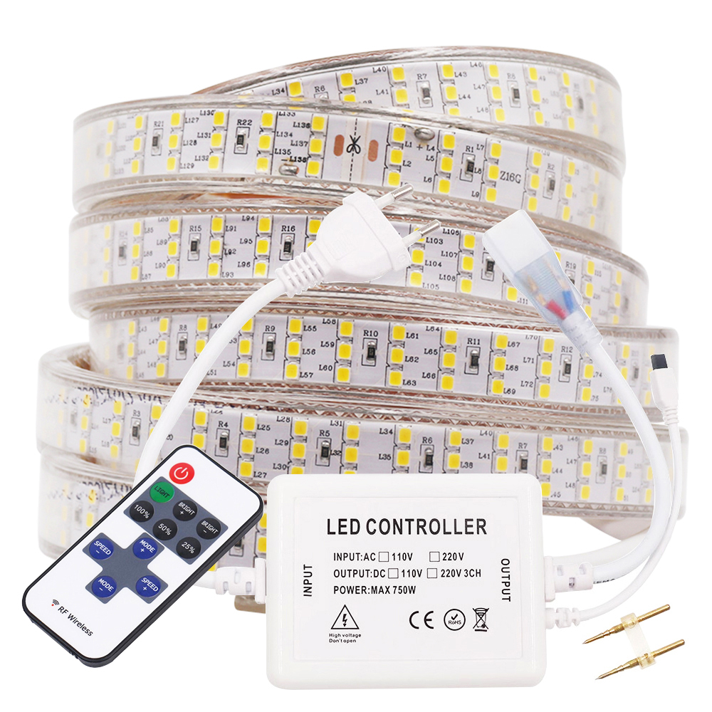 220V 110V LED Strip Light 276LED 240LED Remote Control Dimmable Flexible Led Strip Waterproof IP67 Outdoor Home Decoration New