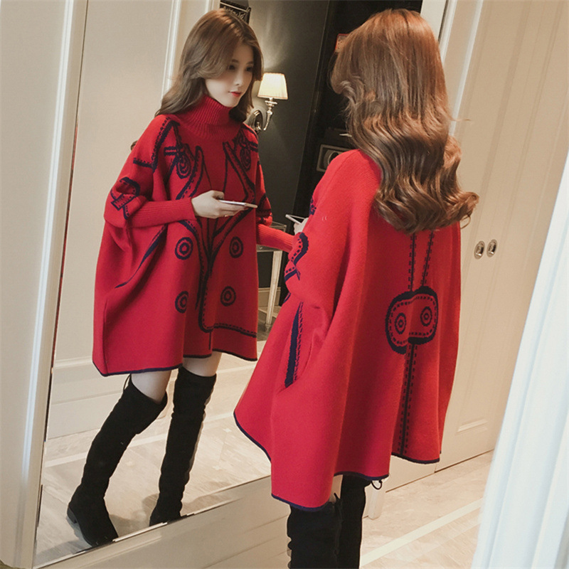 2019 autumn new pattern turtleneck collar print patchwork knitting pullvoers maternity plus size batwing sleeve a-line knitted p
