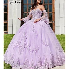 Ball-Gown Prom-Dress Quinceanera-Dresses Elegant Off-The-Shoulder Sweet Lavender Tulle