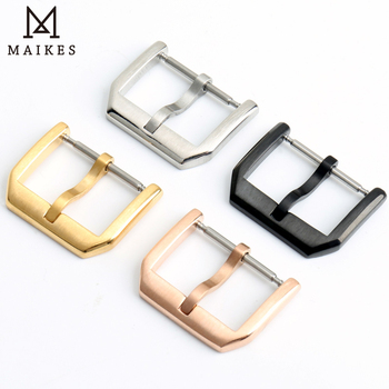цена MAIKES Stainless Steel Watch Clasp 16mm 18mm 20mm 22mm Black Rose Gold Watch Buckle For Leather Watch Band онлайн в 2017 году