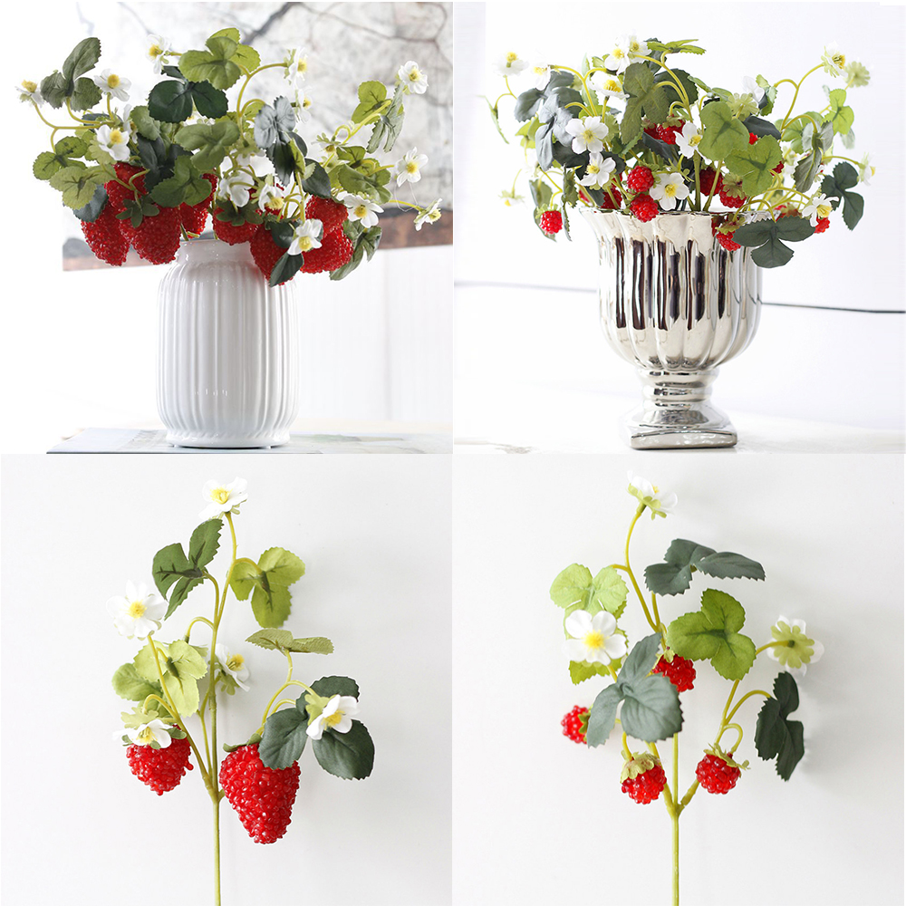 2020 NEW French Frambuesa Artificial Fake Strawberry Fruit Plant Flower 28CM Branch Bouquet Wedding Home Decor