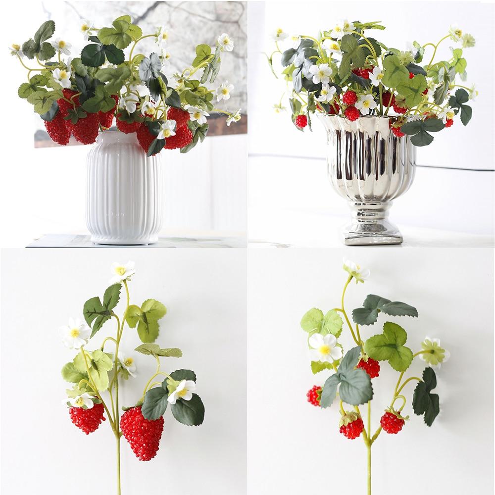 French Frambuesa Artificial Fake Strawberry Fruit Plant Flower Branch Bouquet Wedding Home Decor