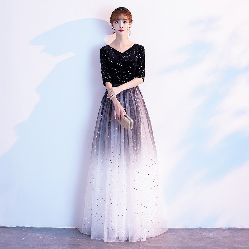 2019 Rushed Limited Dress Female Long Noble Conductor Singing Motherland Banquet Annual Meeting Host Evening Style