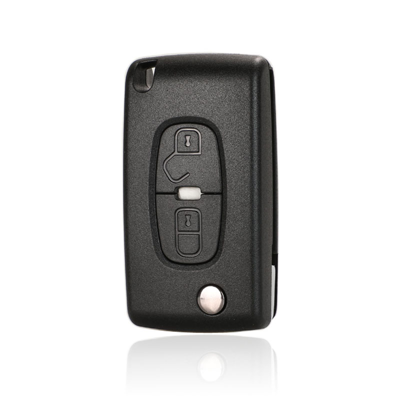 jingyuqin 5ps Flip Remote Car <font><b>Key</b></font> Shell FOR <font><b>Peugeot</b></font> 4007 ET <font><b>4008</b></font> Citroen C-Crosser C4 Aircross 2 Button Fob MIT-11R Blade CE1731 image