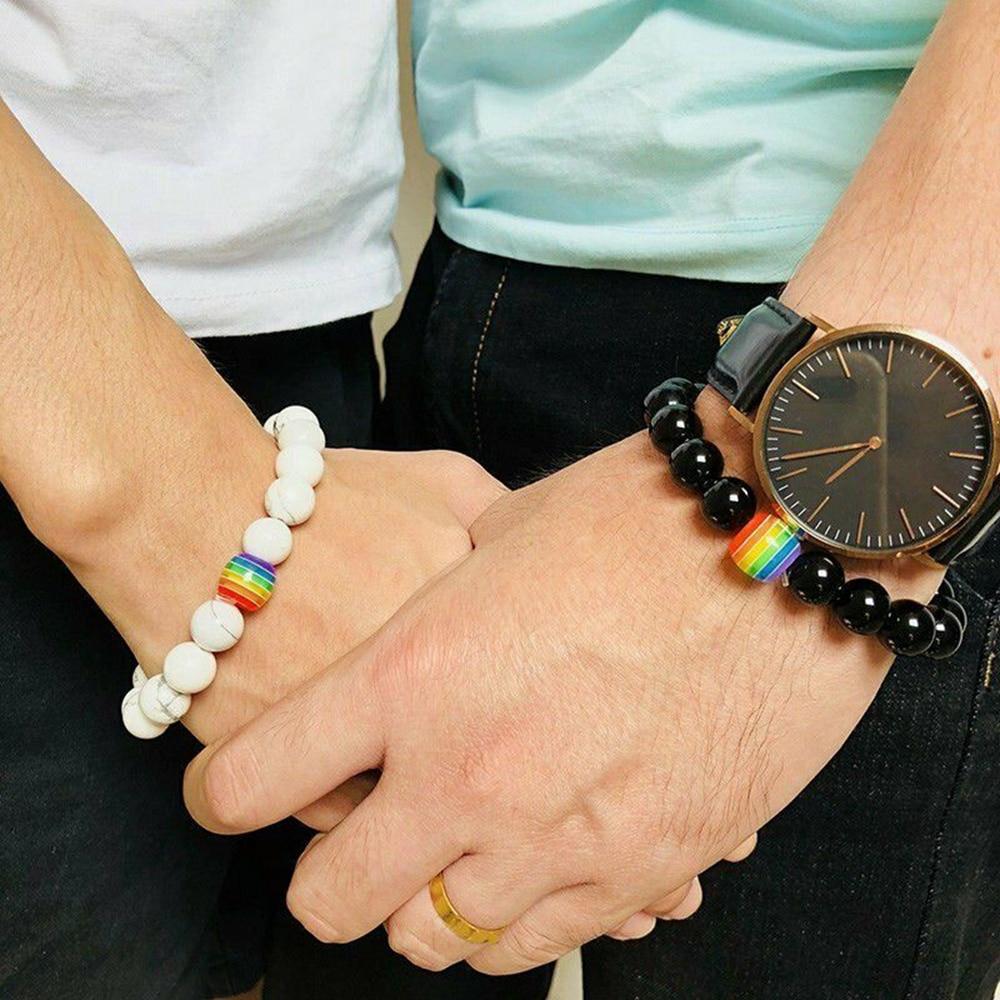 1Pc Women Men Rainbow Flag Ball Natural Stone Black Onyx Beads Bracelet June Pride LGBT GAY Couple Jewelry For Love men jewelry