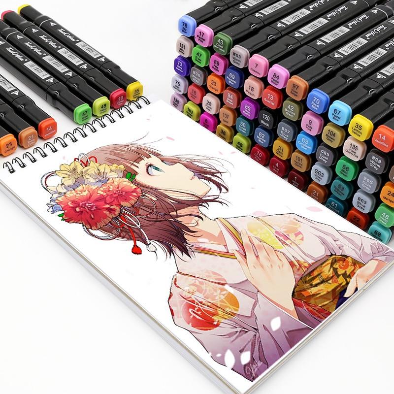 Marker 12/24/30/36/40/48 Colors Pen Art Markers Brush Pen Sketch Alcohol Based Markers Dual Head Manga Drawing Pens Art Supplies
