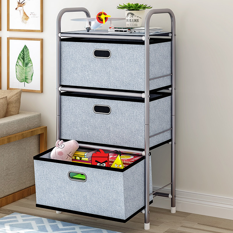 Storage Cabinet with 3 Non Woven Drawers Organizer Tower Unit for Bedroom Closets Office Hallway Entryway Removable Fabric Bins