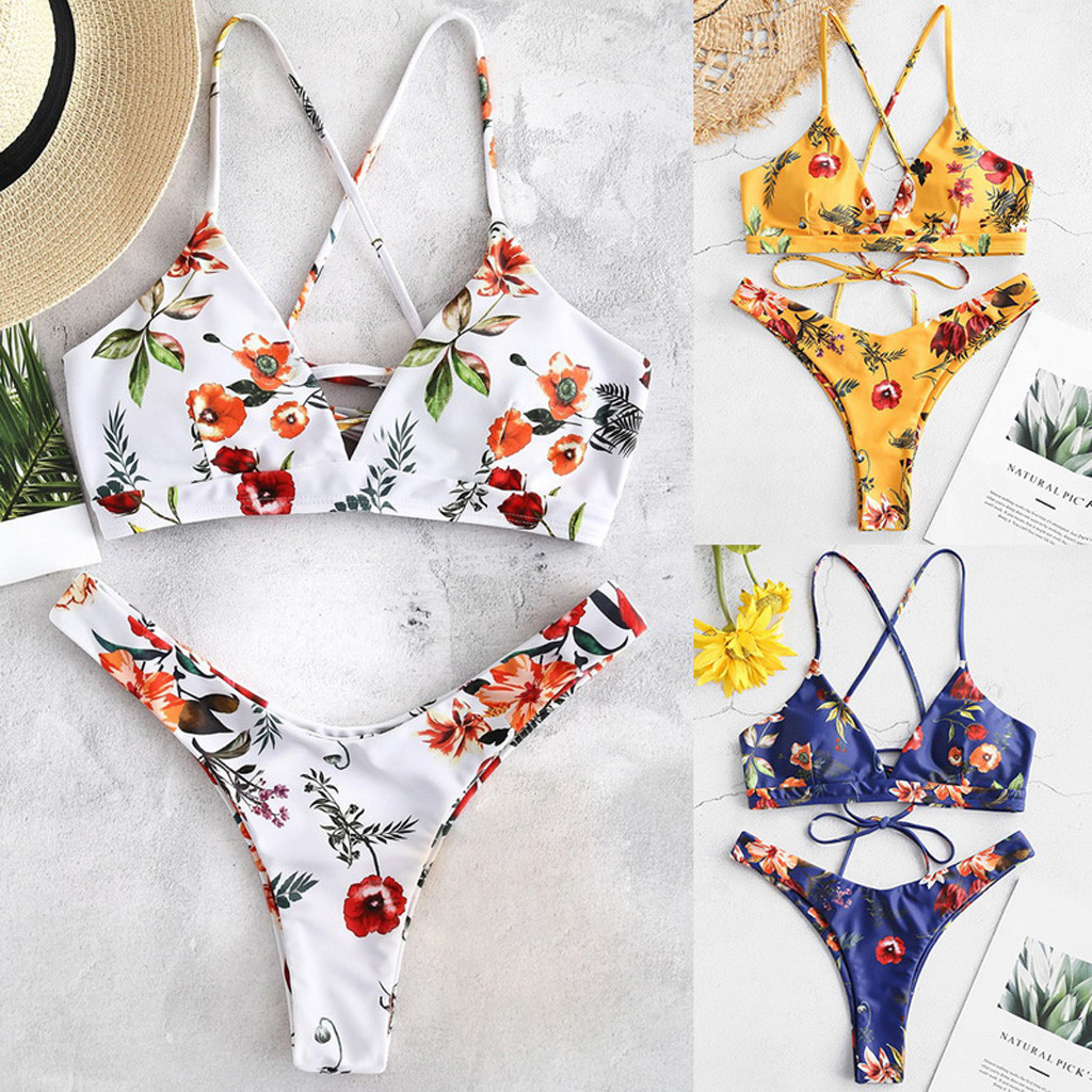 2020 Women <font><b>Sexy</b></font> Lace Up Floral Print Brazilian <font><b>Bikini</b></font> <font><b>Bandage</b></font> Swimsuit High Waist Thong Swimwear Biquini Summer Beach Wear femme image