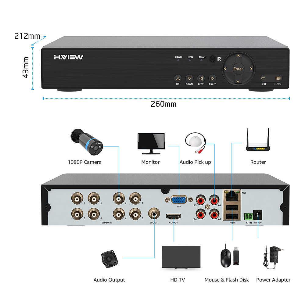 H.ดูระบบกล้องรักษาความปลอดภัย8chระบบกล้องวงจรปิด4 1080Pกล้องวงจรปิดการเฝ้าระวังวิดีโอชุด8ch DVRการเฝ้าระวังวิดีโอกลางแจ้ง
