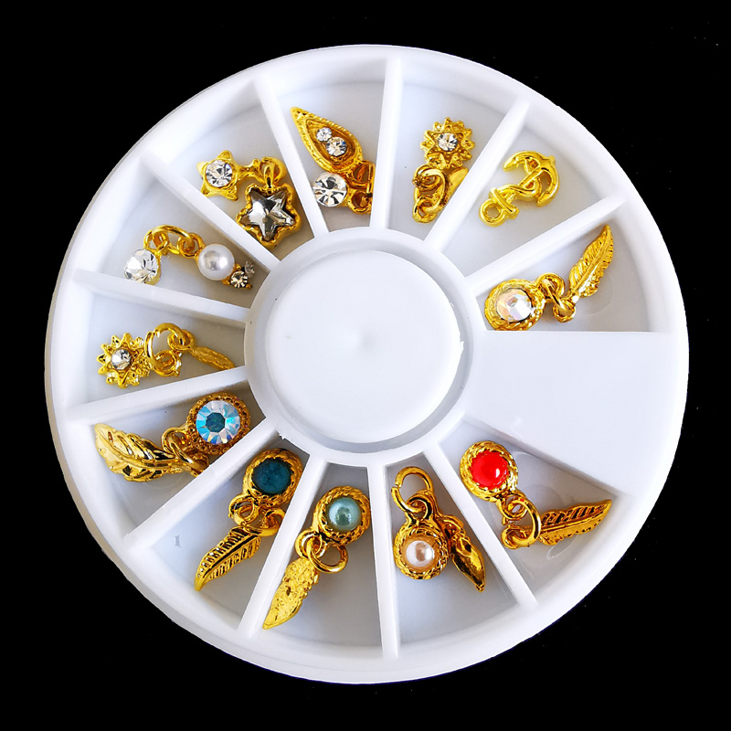 1 Wheel Nail Charms Decorations Gold Metal Nail Art Pendants Feather Heart Bow Tie Charms Jewelry 3D Nail Tips Accessories