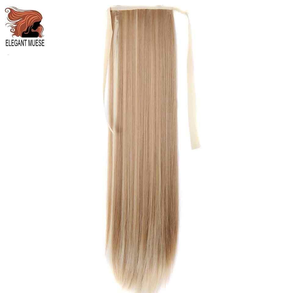 Элегантные Музы 60 см длинные прямые волосы на заколках хвост накладные волосы конский хвост шиньон с заколками синтетические волосы для наращивания