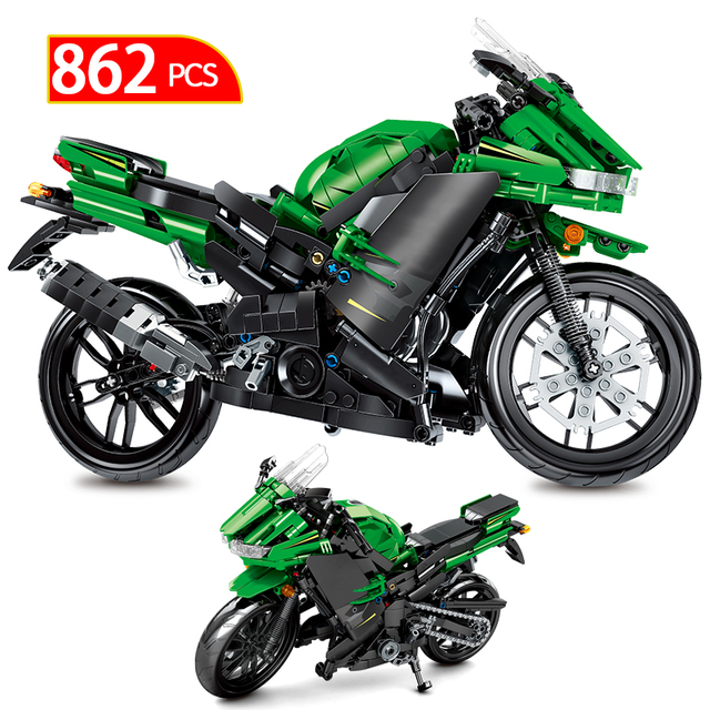 862PCS City Creator Technic Racing Car Motorcycle Off-road Motorbike Model Building Blocksvehicle Toys For Children Boys Gifts
