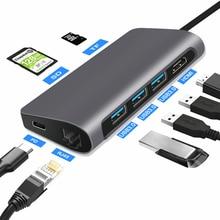 FSU USB C концентратор с HDMI RJ45 PD зарядное устройство кардридер USB 3,0 адаптер usb-хаб для Macbook Pro Аксессуары Мульти USB 3,0 type C концентратор