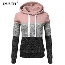 цена на Striped Patchwork SweatShirts Women Casual Drawstring Hoodie Long Sleeve Spring  Pocket t Pullover D30