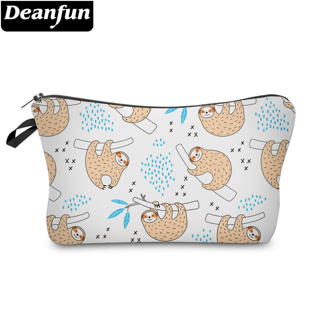Deanfun Cute Sloth Prints Waterproof Cosmetic Bag Purse Makeup Bag For Travel Sloths Gifts For Girls 51672