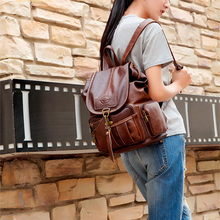 NEW-Women Backpack Vintage Backpacks for Teenage Girls Fashion Travel Pack Bags High Quality PU Leather Rucksack Dark brown women s leather backpack mini tassel backpack women pu back pack backpacks for teenage girls rucksack small travel bag txy519