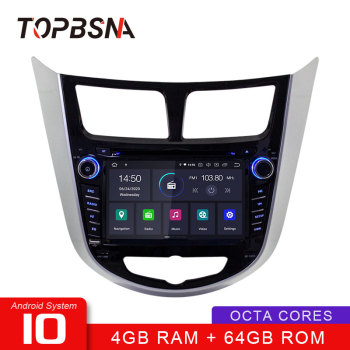 TOPBSNA Android 10 Car Multimedia Player For Hyundai Solaris accent Verna i25 2011-2012 WIFI Stereo 2 Din Car Radio headunit RDS image
