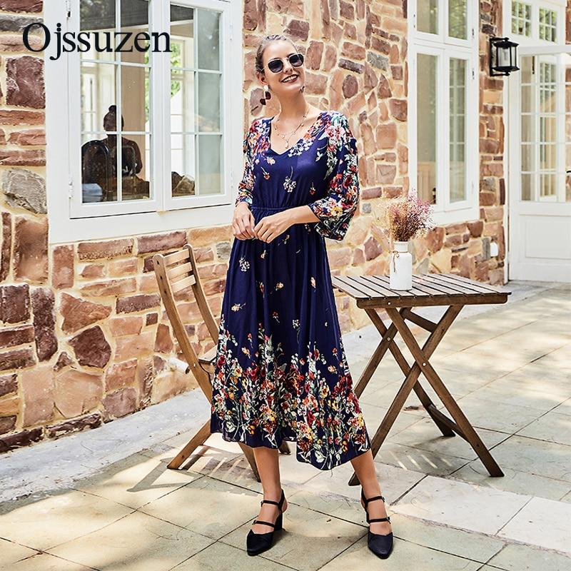 Ladies Dresses V Neck Vestido Casual Slim Printing Dress Women Spring Three Quarter Sleeve Mid Calf
