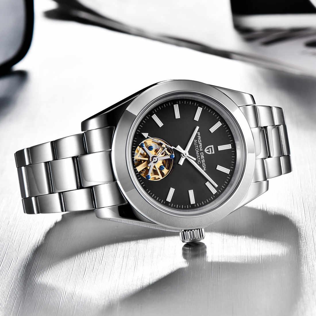 パガーニデザインのメンズトゥールビヨン自動機械式時計ビジネスメンズ腕時計発光防水スチールバンドの腕時計