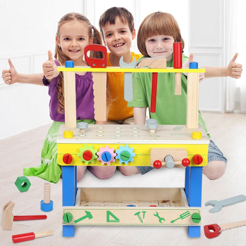 Solid Wood Project Workbench Play Nut Building Set Colorful Interactive Intelligent DIY Toy Early Education For Boys And Girls