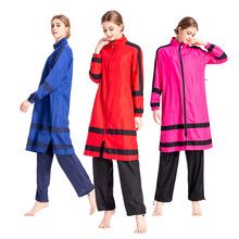 Muslim Sportswear Beachwear Hijab Long-Sleeve Islamic Plus-Size Women Three-Piece-Set