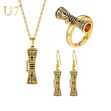 цена на U7 Drum with Smile Face Papua New Guinea Necklaces Earrings Ring sets for Women PNG Jewelry Gold Color Party Gifts S1026