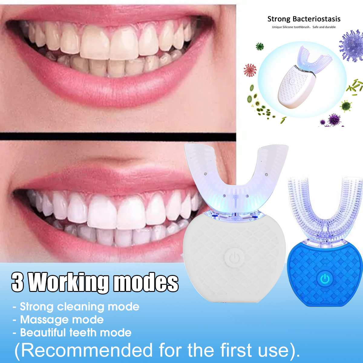 360 Degrees Intelligent Automatic Sonic Electronic Toothbrush USB Rechargeable U Shape with 3 Modes Timer Blue Light Toothpaste