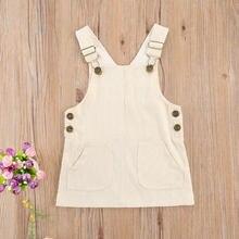 Suspensórios ajustáveis vestido da criança infantil do bebê meninas vestido de alças sólido veludo curto com dois bolsos frente 1-3years