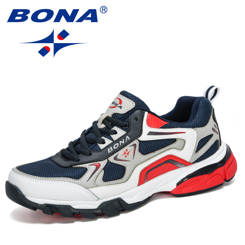 BONA 2020 New Style Action Leather Sneakers Men Trainers  Zapatillas Hombre Shoes Man Masculino Sports Running Shoes Comfortable
