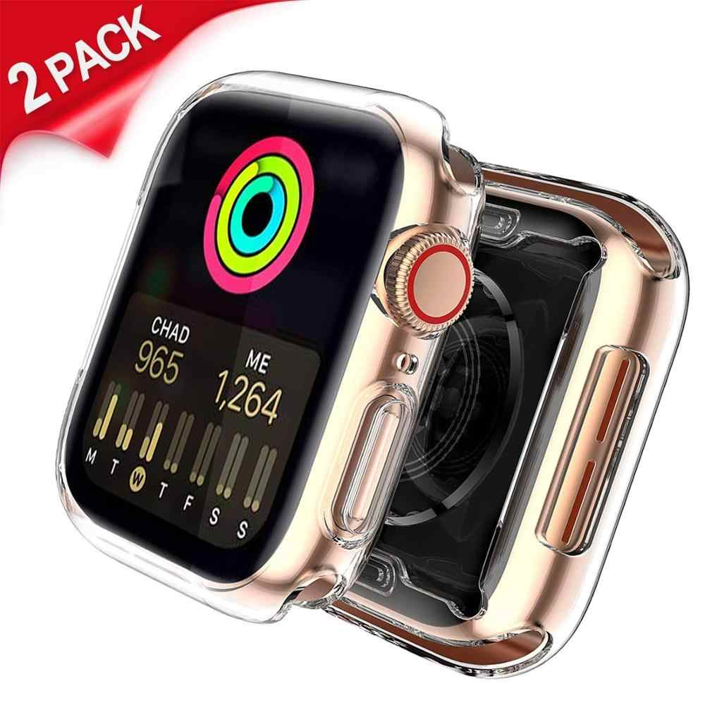 Watch Protector cover For Apple Watch 4 3 case 42mm 38mm 44mm TPU Screen protector Cover 360 Degree Soft Clear  for iWatch 4 3 2