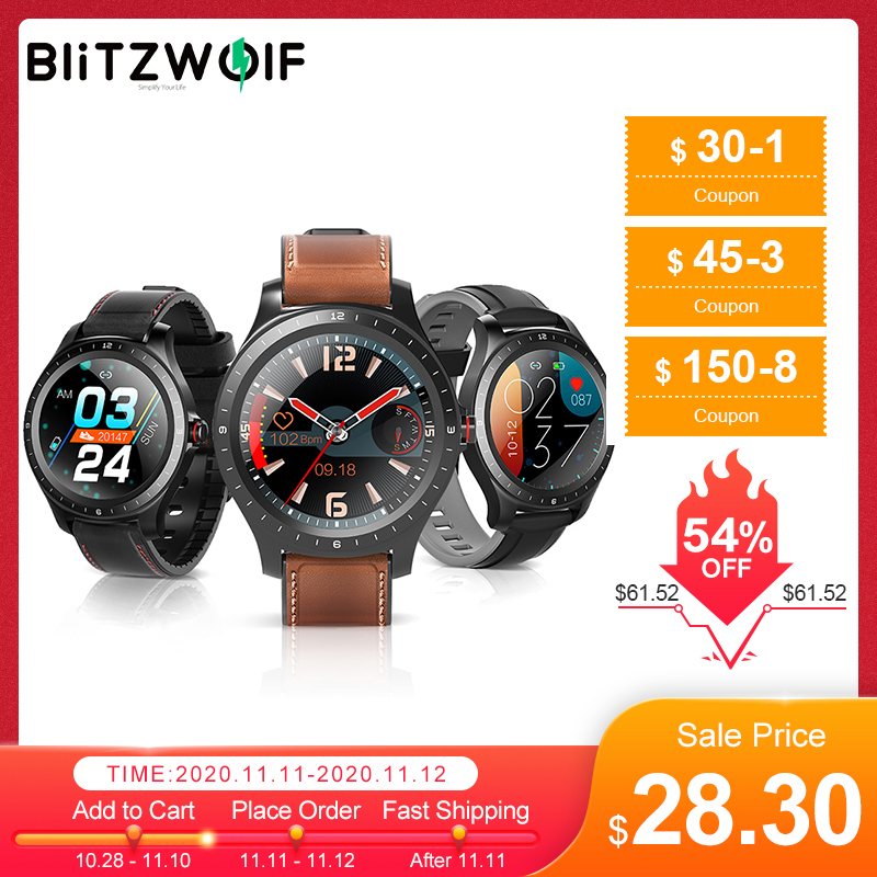 [ bluetooth 5.0 ] BlitzWolf BW-HL2 Smart Watch 1.3' Full Round Touch Screen Heart Rate Blood Pressure O2 Monitor IP67 Smartwatch 1