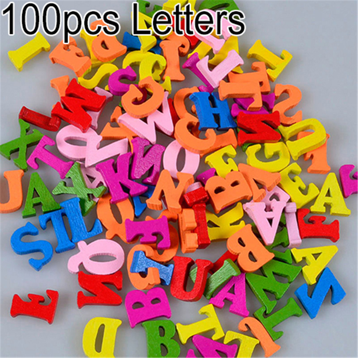 New Arrival 100Pcs Colorful Letters Numbers Wooden Flatback Embellishments Crafts Tool Kids Toys Baby Education