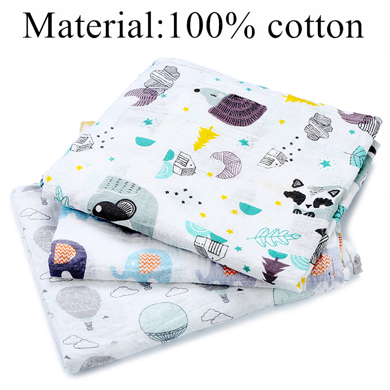 [simfamily] 1Pc Muslin 100% Cotton Baby Swaddles Soft Newborn Blankets Bath Gauze Infant Wrap sleepsack Stroller cover Play Mat 3